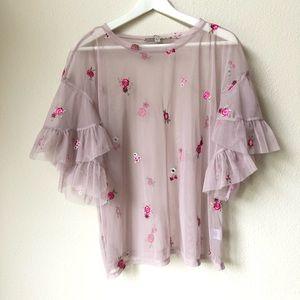 GYPSIES & MOONDUST Sheer Floral Top Size L
